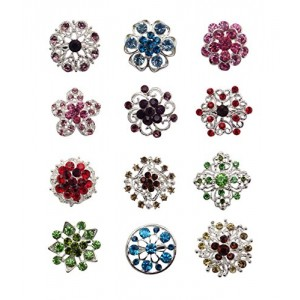 Tooky 12PCS mix set Crystal Button spille sciarpe fibbia Floriated spilla pin strass corpetto bouquet kit lotto all ingrosso placcato argento colore
